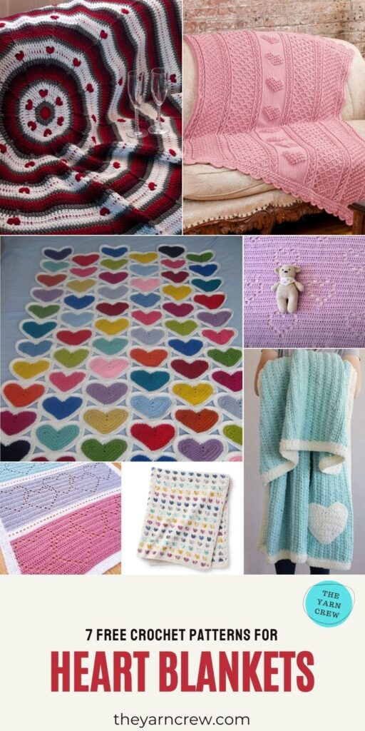 7 Free Crochet Patterns For Heart Blankets - PIN3