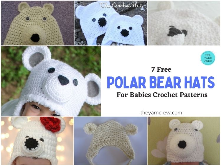 _7 Free Polar Bear Hats For Babies Crochet Patterns - FB POSTER