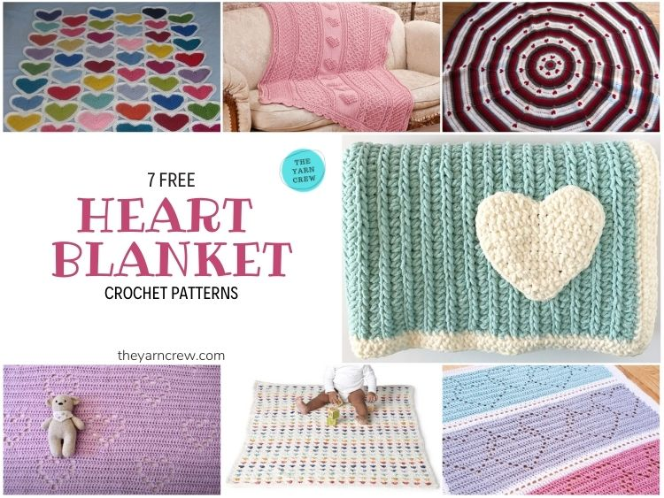 7 Heart Blankets Free Crochet Patterns - FB POSTER