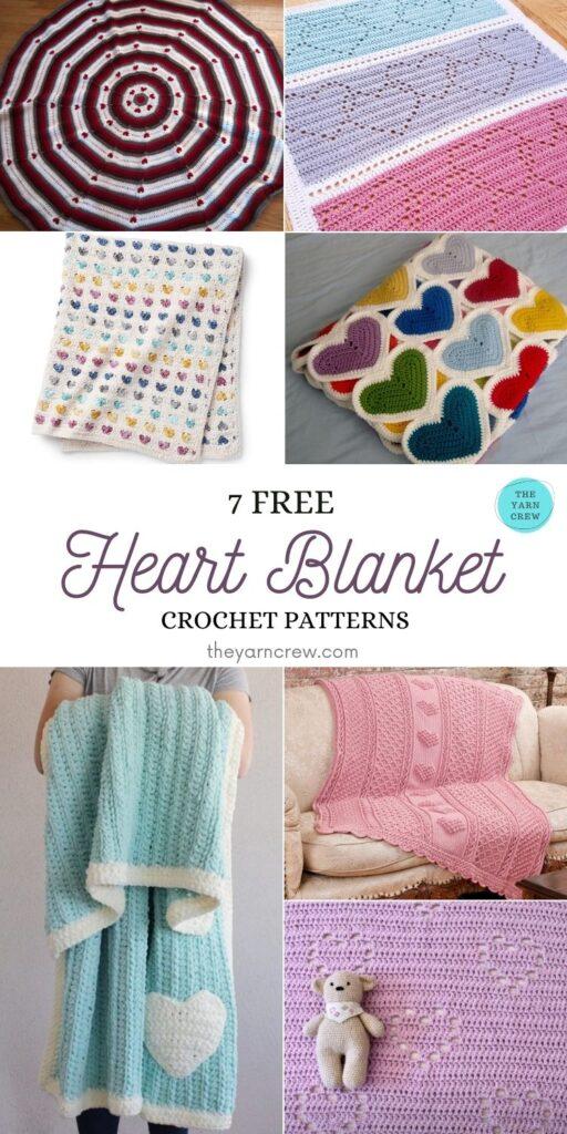 7 Heart Blankets Free Crochet Patterns - PIN1