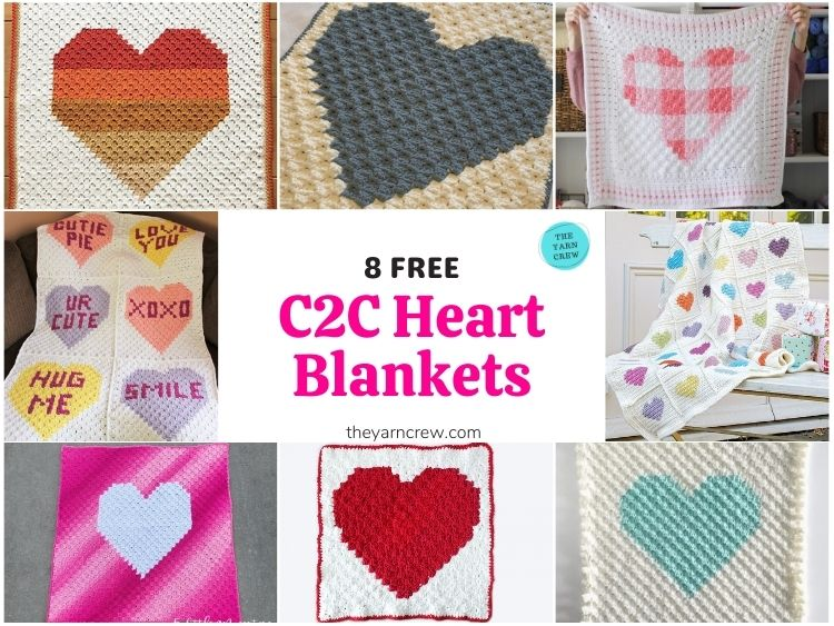 _8 Free C2C Heart Blankets Free Crochet Patterns - FB POSTER