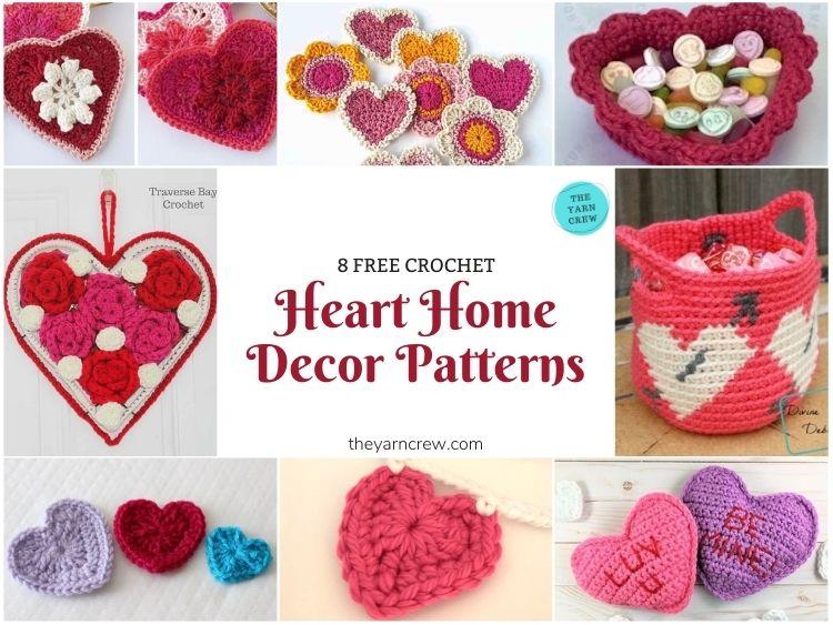 8 Free Crochet Heart Home Decor Patterns - FB POSTER