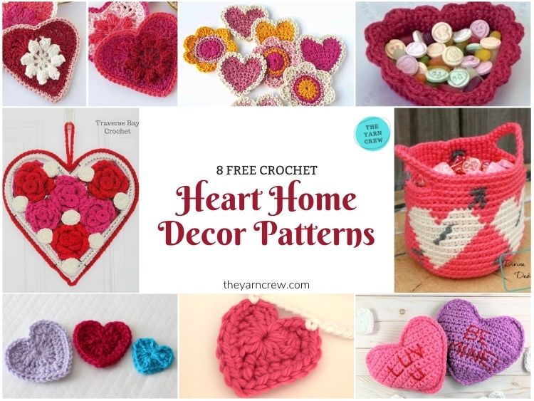 8 Free Crochet Heart Home Decor Patterns - FB POSTER