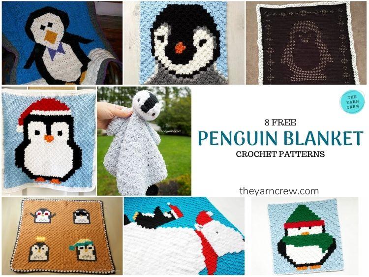 8 Free Crochet Penguin Blankets - FB POSTER