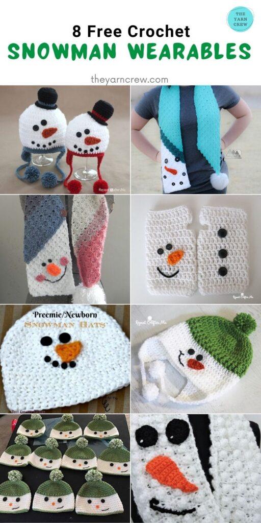8 Free Crochet Snowman Wearables - PIN2
