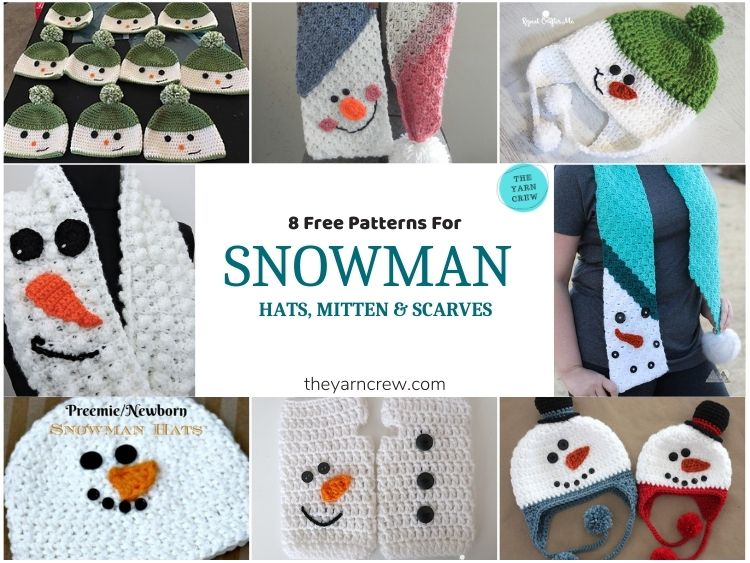 8 Free Patterns For Snowman Hats, Mitten & Scarves - FB POSTER