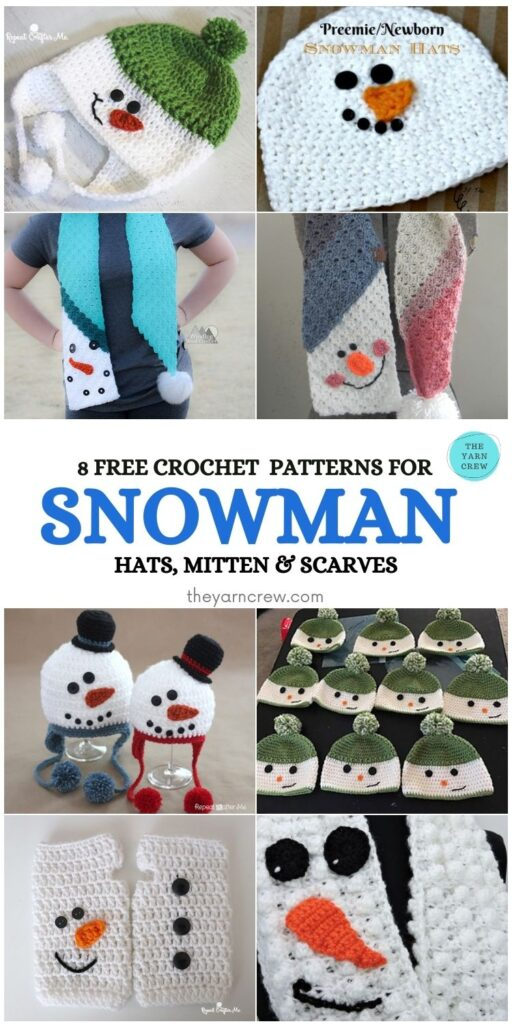 8 Free Patterns For Snowman Hats, Mitten & Scarves - PIN1