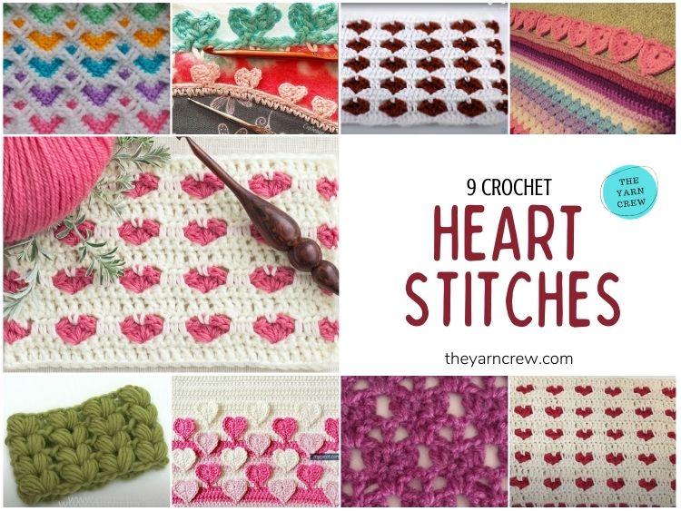 _9 Beautiful Heart Crochet Stitches Free Tutorials - FB POSTER