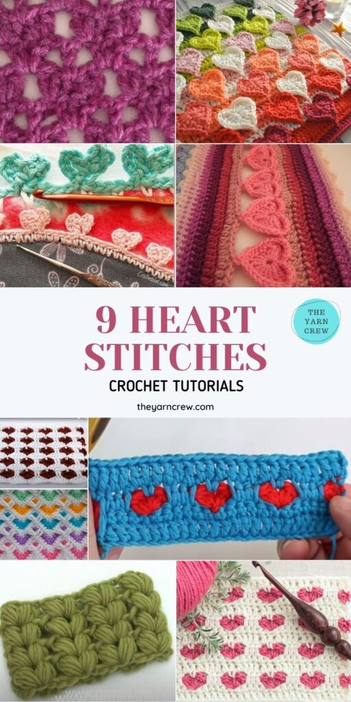 _9 Beautiful Heart Crochet Stitches Free Tutorials- PIN1