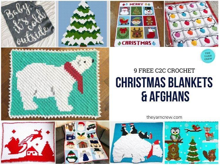 _9 Free C2C Crochet Christmas Blankets & Afghans - FACEBOOK POSTER