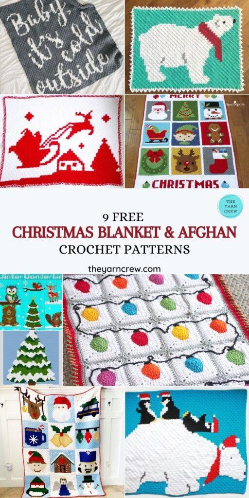 9 Free Christmas Blanket & Afghan Crochet Patterns - PINTEREST1