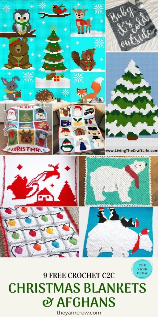 9 Free Crochet C2C Christmas Blankets & Afghans - PINTEREST-POSTER3