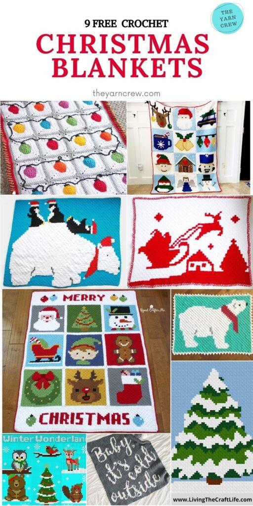 9 Free Crochet Christmas Blankets - PINTEREST2