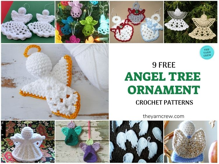 9 Free Crochet Patterns For Crocheted Angels Tree Ornaments - FB POSTER