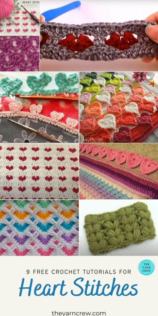 9 Free Crochet Tutorials For Heart Stitches - PIN3