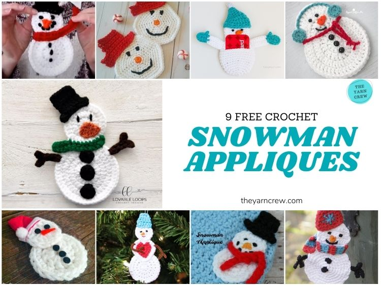 9 Super Cute Snowman Appliques Free Patterns - FB POSTER