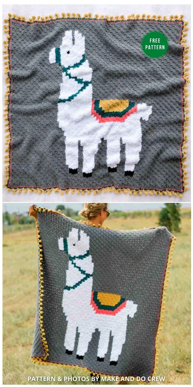 Alpaca Love C2C Blanket - 5 Free Llama Blanket Crochet Patterns