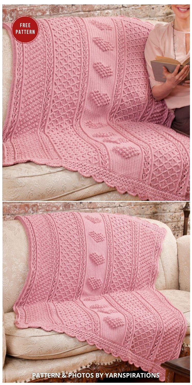 Aran Hearts Throw - 7 Heart Blankets Free Crochet Patterns