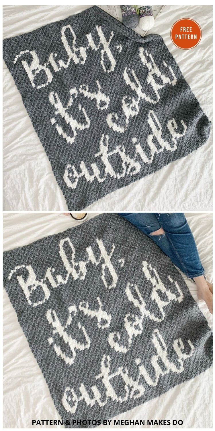 Baby It's Cold Outside Graphgan - 9 Free C2C Crochet Christmas Blankets & Afghans