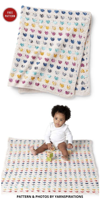 Bernat Heart Stripe Crochet Baby Blanket - 7 Heart Blankets Free Crochet Patterns