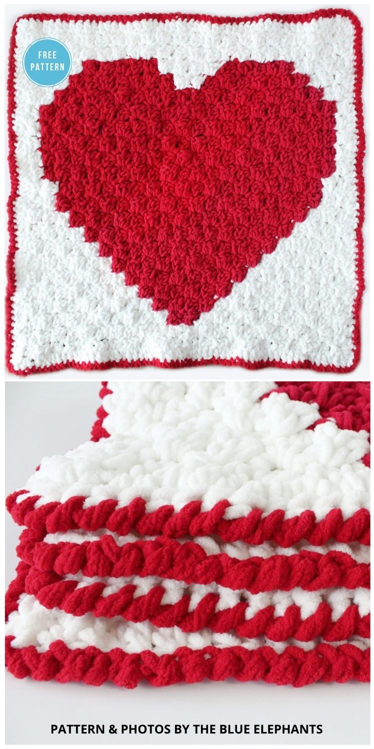 C2C Heart Blanket_ Free Crochet Blanket Pattern -8 Free C2C Heart Blankets Free Crochet Patterns
