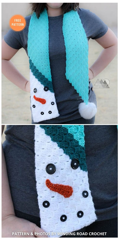 C2C Snowman Scarf Free Crochet Pattern - 8 Free Patterns For Snowman Hats, Mitten & Scarves