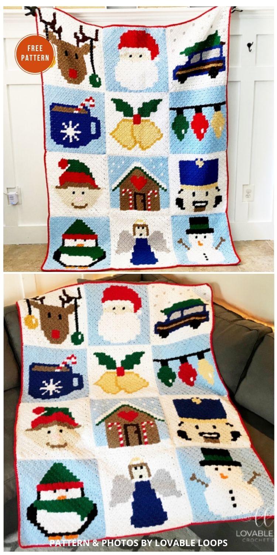 Christmas Blanket - 9 Free C2C Crochet Christmas Blankets & Afghans