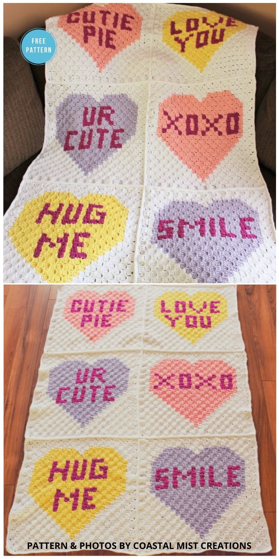 Conversation Heart Corner to Corner Blanket Finishing - 8 Free C2C Heart Blankets Free Crochet Patterns