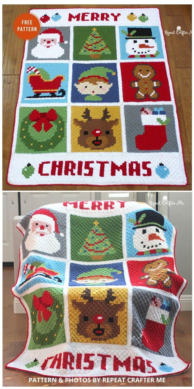 Crochet Christmas Character Afghan - 9 Free C2C Crochet Christmas Blankets & Afghans
