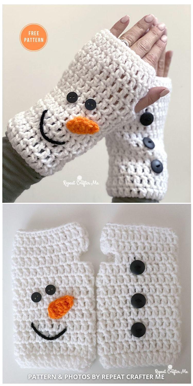 Crochet Christmas Fingerless Gloves - 8 Free Patterns For Snowman Hats, Mitten & Scarves