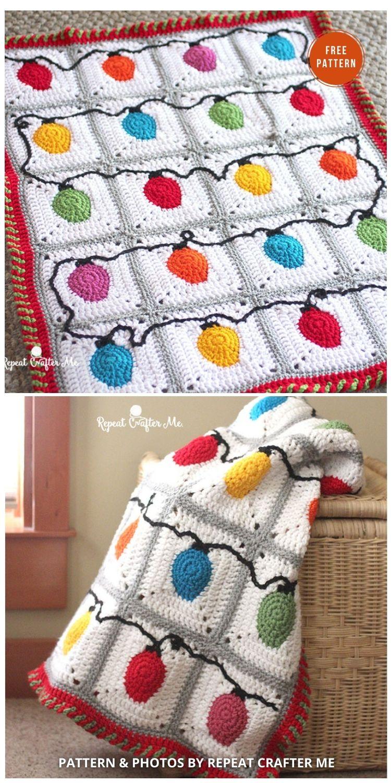 Crochet Christmas Lights Blanket - 9 Free C2C Crochet Christmas Blankets & Afghans