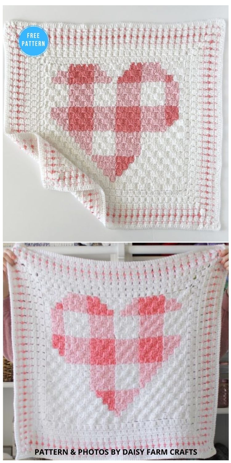 Crochet Gingham Heart Blanket - 8 Free C2C Heart Blankets Free Crochet Patterns