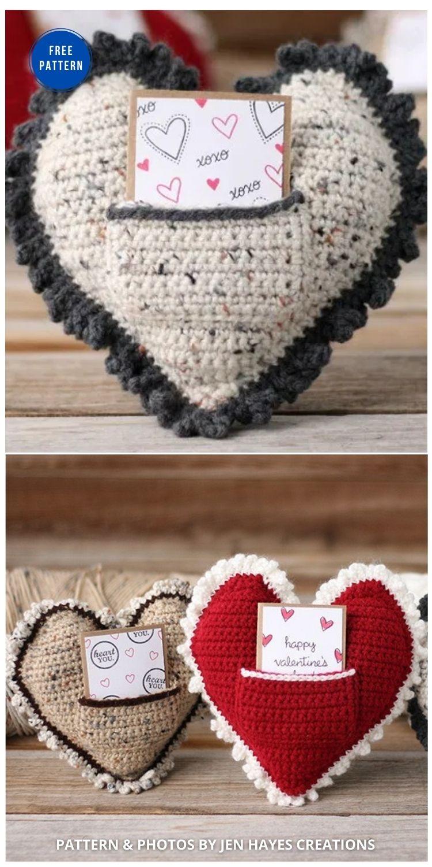 Crochet Heart Pillow - 12 Free Crochet Patterns Heart Pillows & Cushions - INDIVIDUAL (1)