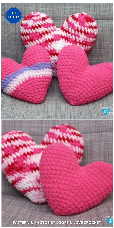 Crochet Heart Pillow - 12 Free Crochet Patterns Heart Pillows & Cushions - INDIVIDUAL