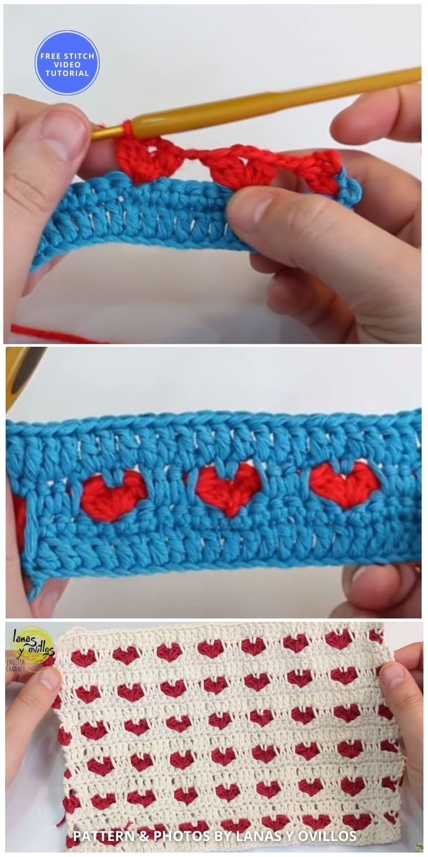 Crochet Heart Stitch Baby Blanket + Free Video Tutorial - 9 Beautiful Heart Crochet Stitches Free Tutorials