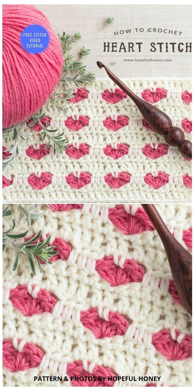Crochet Heart Stitch Blanket - 9 Beautiful Heart Crochet Stitches Free Tutorials