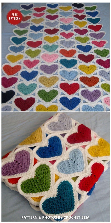 Crochet Hearts Blanket Free Pattern - 7 Heart Blankets Free Crochet Patterns