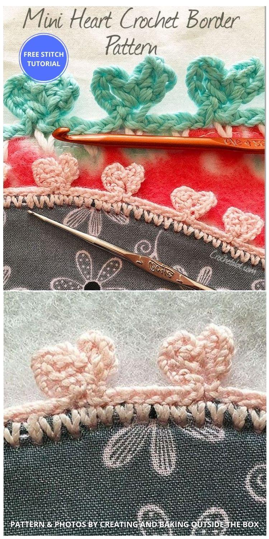 Crochet Mini Heart Border Pattern - 9 Beautiful Heart Crochet Stitches Free Tutorials