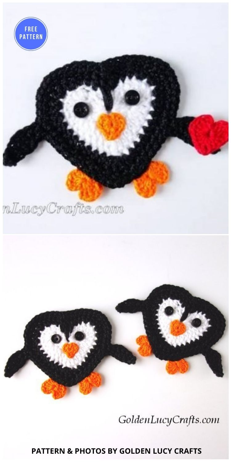 Crochet Penguin Applique - 12 Free Crochet Penguin Home Decor Ideas