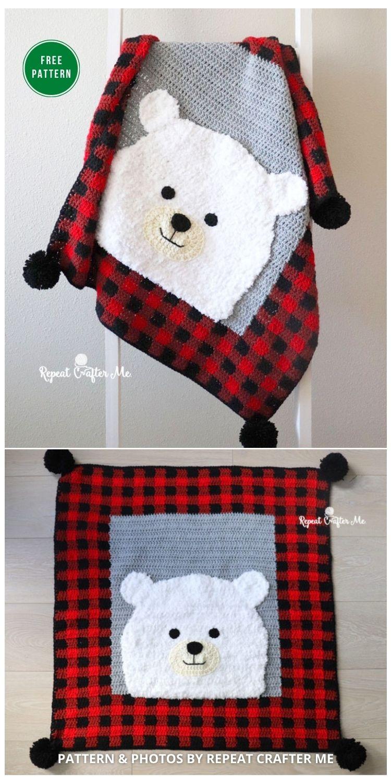 Crochet Plaid Polar Bear Blanket - 7 Free Crochet Polar Bear Blanket Patterns