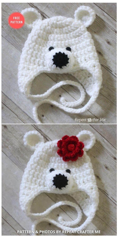 Crochet Polar Bear Hat Pattern - 7 Free Polar Bear Hats For Babies Crochet Patterns