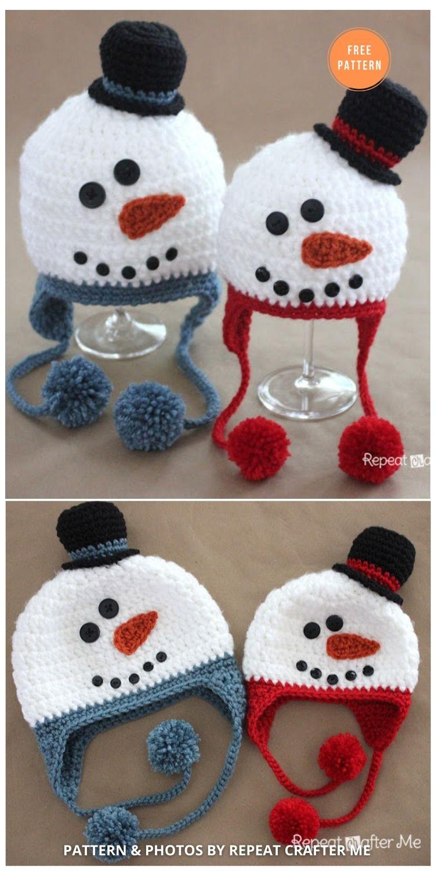 Crochet Snowman Hat Pattern - 8 Free Patterns For Snowman Hats, Mitten & Scarves