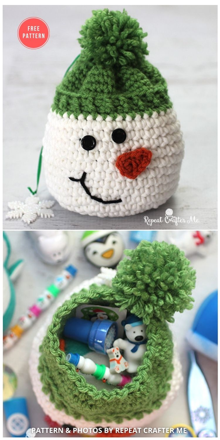 Crochet Snowman Sack With Stocking Stuffers from Oriental Trading - 15 Free Crochet Snowman Home Decor Ideas
