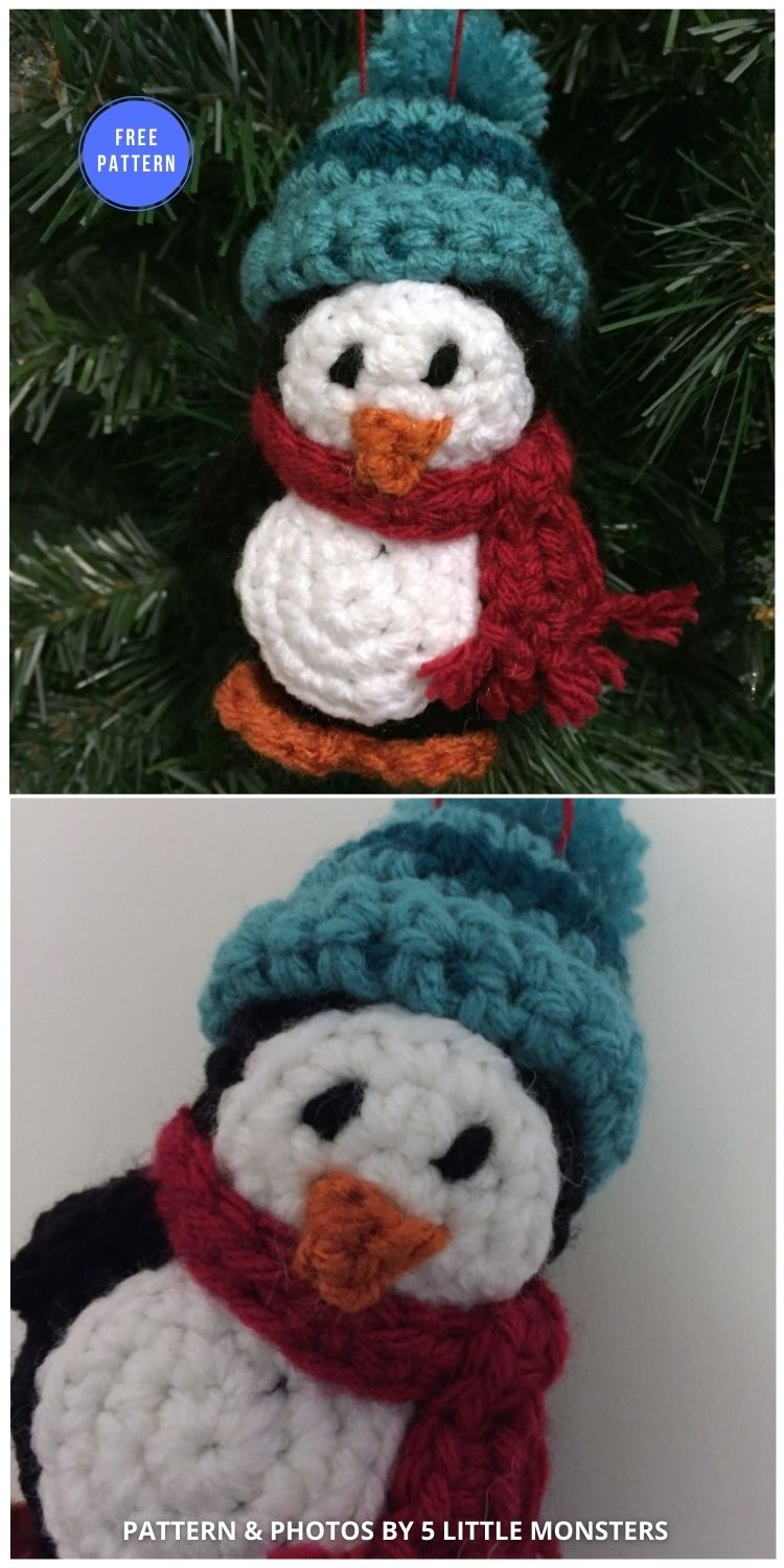 Crocheted Penguin Ornament - 12 Free Crochet Penguin Home Decor Ideas