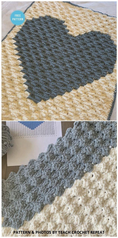 Heart C2C Blanket -8 Free C2C Heart Blankets Free Crochet Patterns