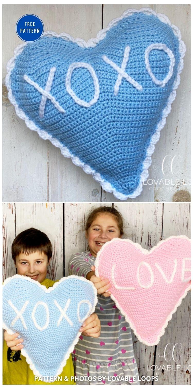 Heart Shaped Pillow Free Crochet Pattern - 12 Free Crochet Patterns Heart Pillows & Cushions - INDIVIDUAL (1)