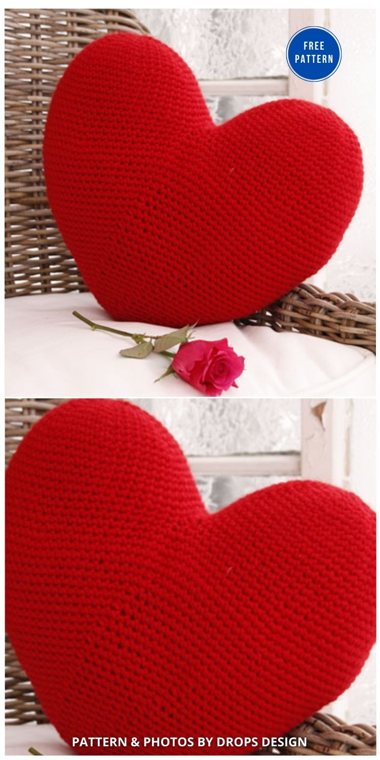 Hooked On You - 12 Free Crochet Patterns Heart Pillows & Cushions - INDIVIDUAL
