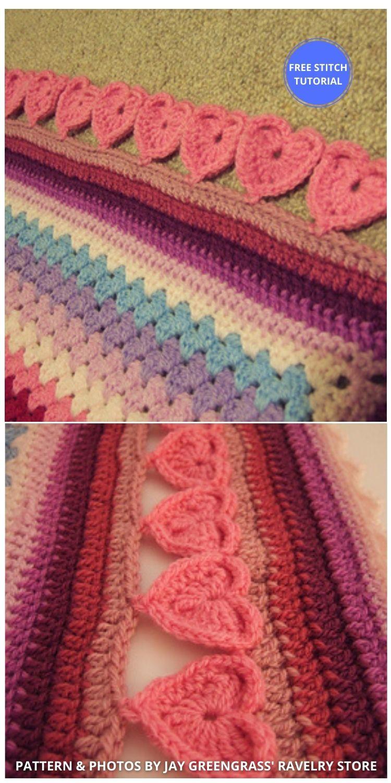 Line of Hearts Crochet Edging - 9 Beautiful Heart Crochet Stitches Free Tutorials