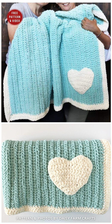 Mandy's Crochet Heart Blanket - 7 Heart Blankets Free Crochet Patterns