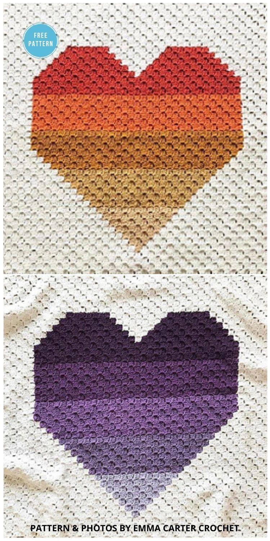 Ombre Heart C2C Blanket - 8 Free C2C Heart Blankets Free Crochet Patterns
